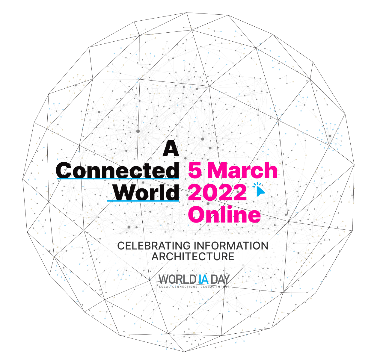 WIAD22 theme image showing A Connected World as the theme text and 5 March 2022 as the event date over an outline of the World IA Day logo